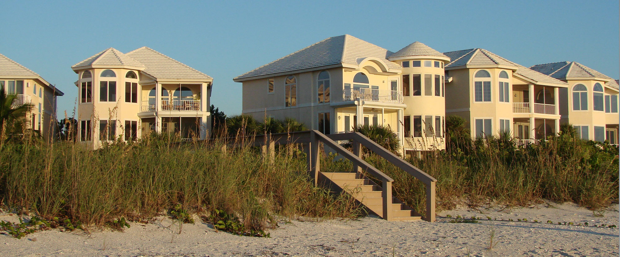 A row of expensive beach houses