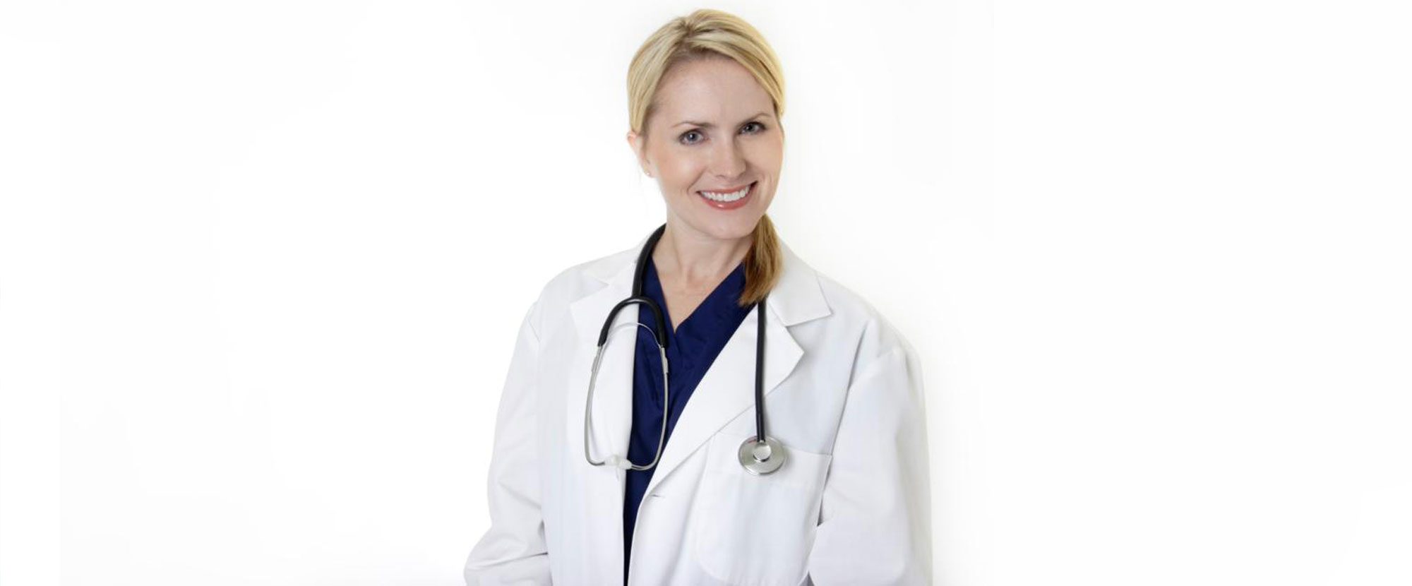 A woman wearing a doctor's lab coat and stethoscope